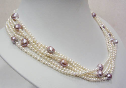 18'' 5 row white & purple fresh water pearl necklace