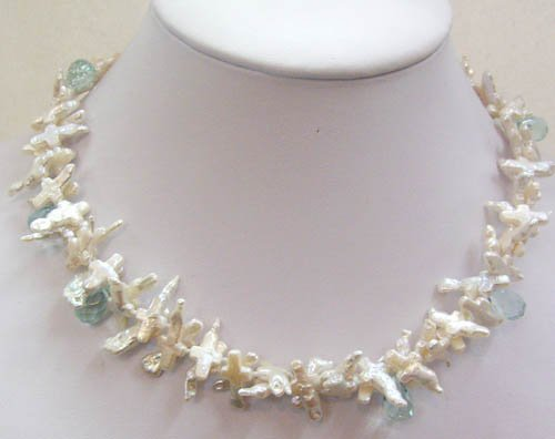 16.5'' white cruciate pearl & blue crystal necklace