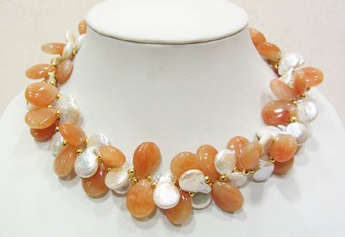 17'' white fresh water pearl & agate necklace