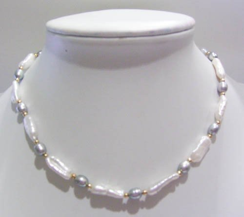 17'' white biwa pearl and gray rice pearl necklace