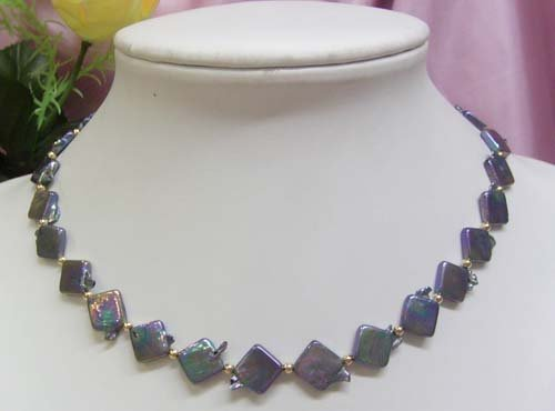 17'' Black diamond shape Freshwater Pearl Necklace