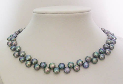 17'' Black button shape freshwater pearl necklace