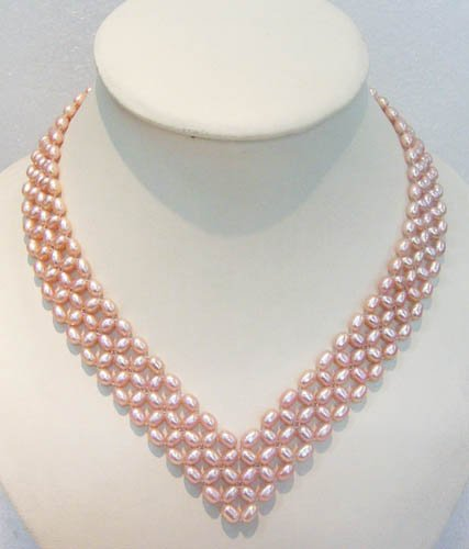 16.5'' heart shape pink pearl necklace
