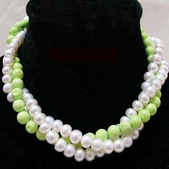 3 row White pearl & Turquoise bead Necklace
