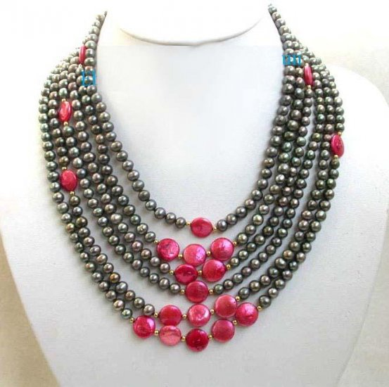 6row black & red freshwater Pearl Necklace