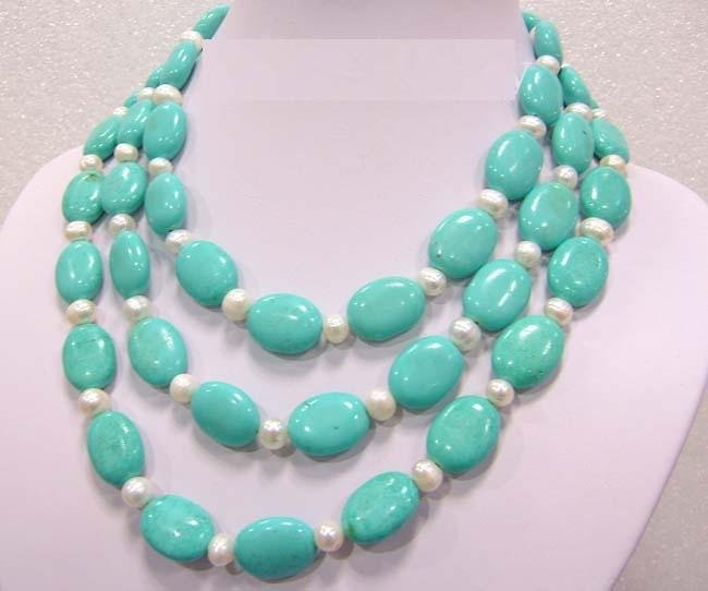 3 strand green turquoise and white pearl necklace