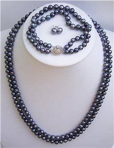 "22"""" 2 row 7mm Black Pearl Necklace Bracelet Earrings"