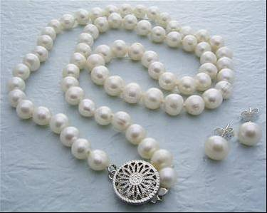 7MM Genuine White Pearl Necklace Earring Set