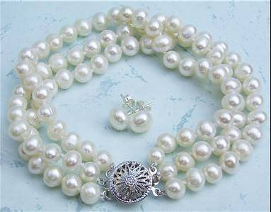 3 row 7mm Genuine White Pearl Bracelet Earring Set