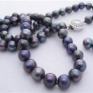 8mm Black Genuine Pearl Necklace Earring Set