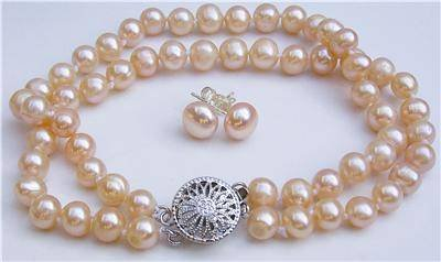 7mm Genuine Pink Pearl Bracelet Earring Set
