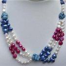 Multicolor Genuine Baroque Pearl Turquoise Necklace