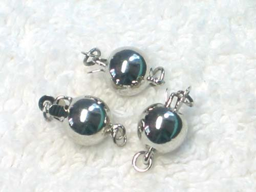 50 pcs 8mm 18kgp silver ball clasp