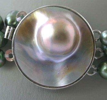 1 pc silver gild 18kgp gray mabe clasp