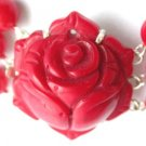 1 pc carved coral rose clasp