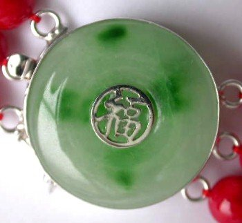 1 pc green jade good fortune clasp