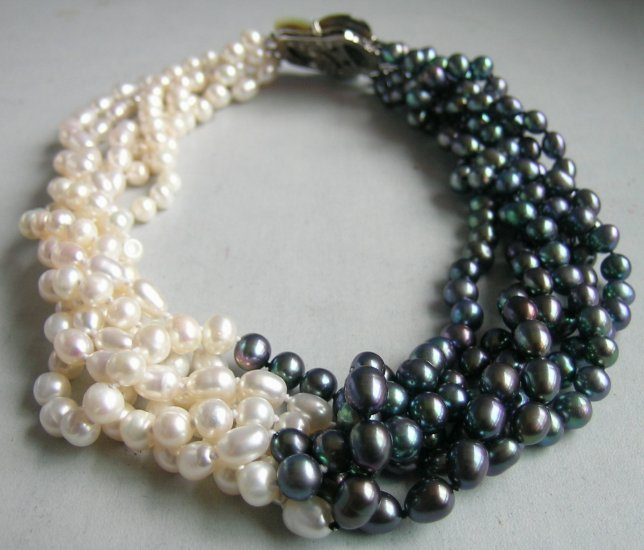 "17"""" white black freshwater pearl necklace shell clasp"