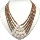 5 strands coffee freshwater pearl coin pearl nacklace