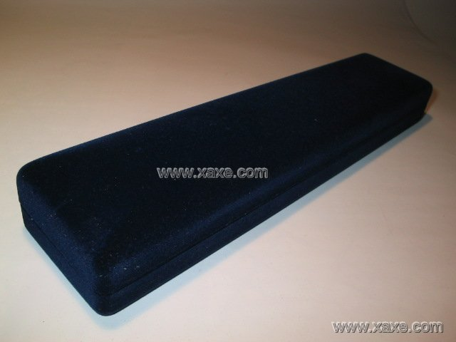 blue rectangular velvet jewlery box