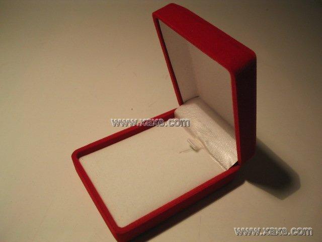 rectangular red velvet jewelry box