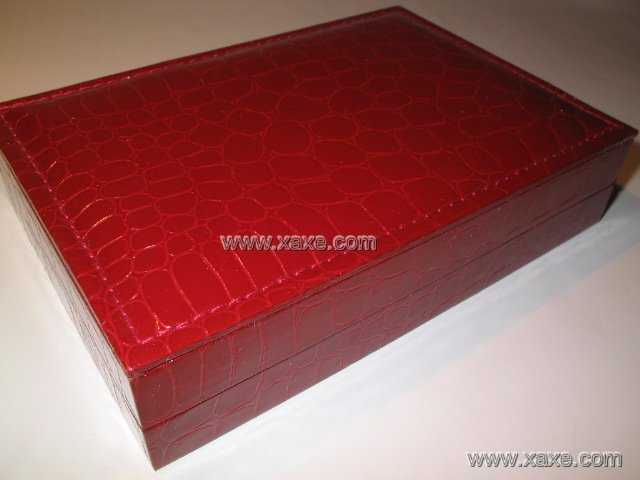 big red leatheroid jewelry box for set