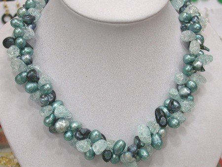 40'' blue Pearl and blue Crystal Necklace