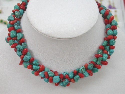 "15"""" 3 strands turquoise and coral necklace chocker"