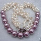 3 row white freshwater pearl and seashell pearl necklace