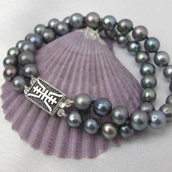2 rows black freshwater pearl bracelet