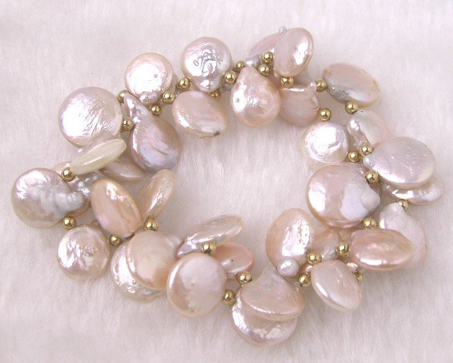 2 Strands Natural Pink Coin Pearl Stretching Bracelet