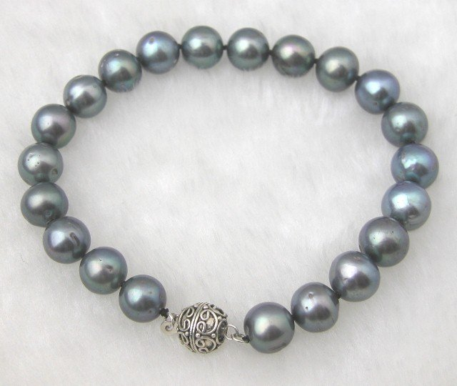 Big 9-10mm Natural Black Fw Pearl Bracelet