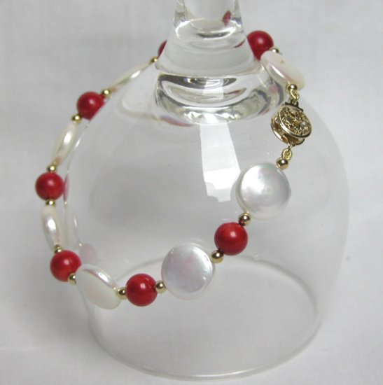 White Coin freshwater pearl and red coral bead bracelet