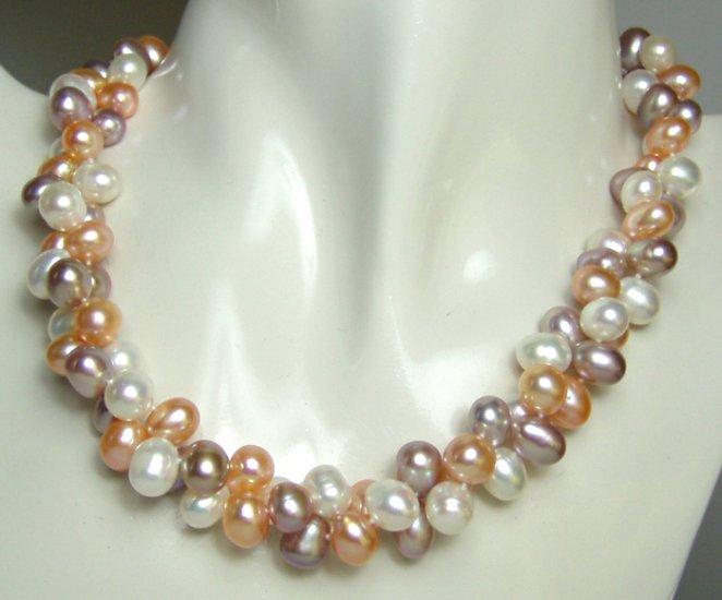 2 row 8x9mm multicolor pearl necklace