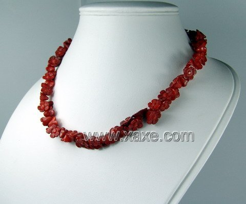 Lovely red coral flower necklace