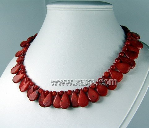 Lovely red coral seed necklace