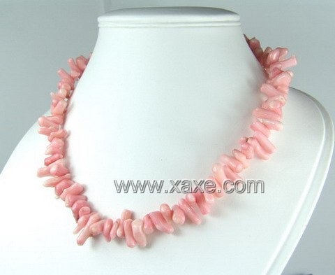 Lovely pink coral little chip necklace