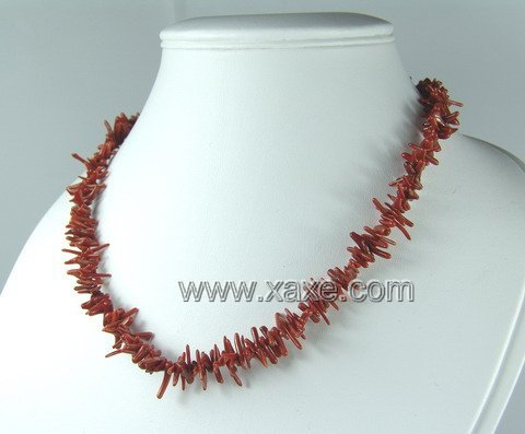 Lovely red coral slim branch necklace
