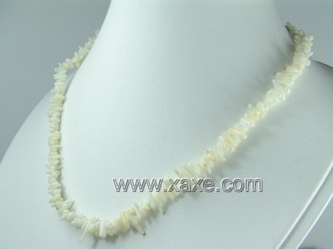 Lovely white coral chip necklace