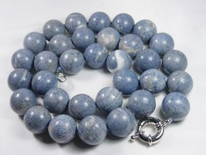 Long 28'' 20mm blue round coral necklace