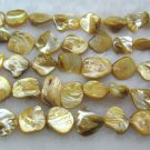 wholesale 10 strands 15mm Shell Beads loose string - yellow