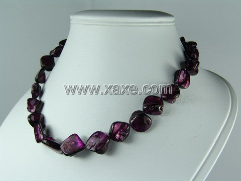 Lovely 15mm shell necklace- purple