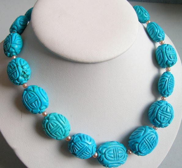 Huge 18x20mm Nature Turquoise & Pearl Necklace