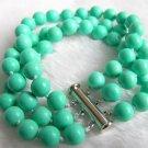 3 Strands 8mm Nature Turquoise Bracelet 7.5 inch