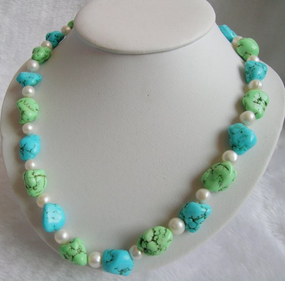Nature Turquoise& Pearl Necklace
