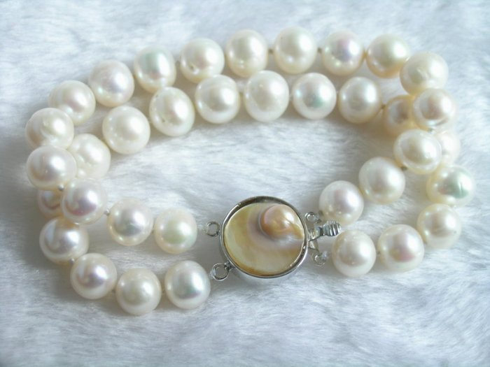 Double Strands 9-10mm White Pearl Braceet & Mabe