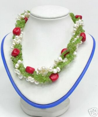 4 Strds Pearl Crystal Coral Necklace 18inch