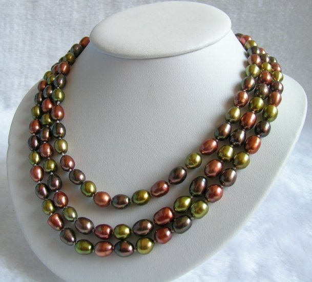 3 Strands 7-8mm Multicolor Pearls Necklace