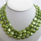 3 Strands Green Coin Pearl Necklace