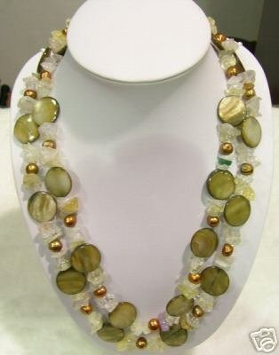 47'' Long Shell & Nature Crystal Necklace