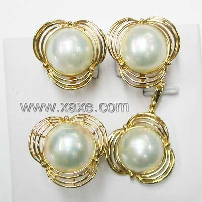 15mm white mabe pearl eariring ring sets 14K